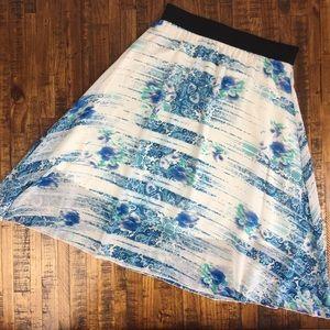 LuLaRoe Lola Skirt Watercolor Floral Chiffon Lined